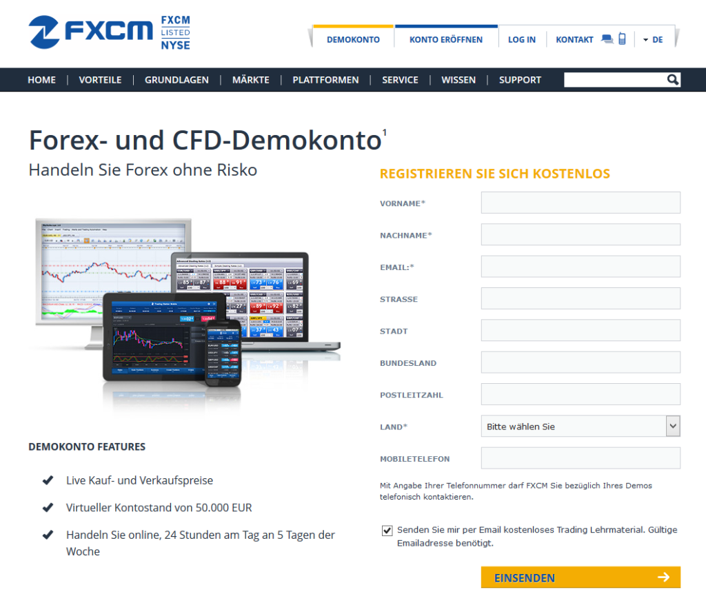 FXCM Demokonto