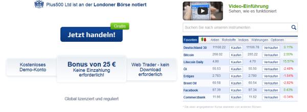 No-Deposit-Bonus von 25 Euro bei Plus500