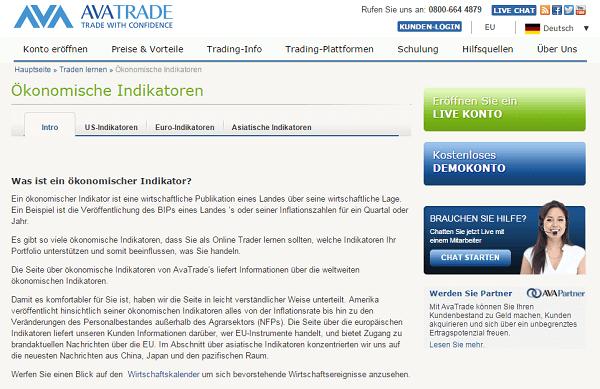 Die Homepage von AvaTrade