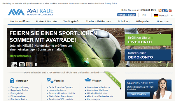 Die AvaTrade Webseite