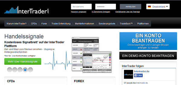 Die Homepage des Brokers InterTrader