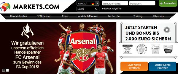 Die Homepage des Brokers Markets.com