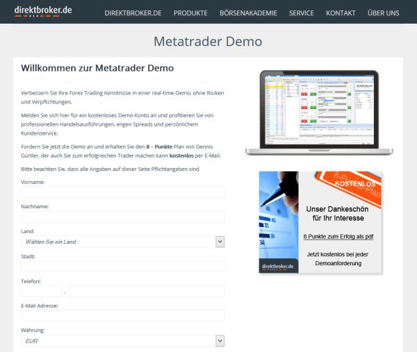 Die MetaTrader-Demo und das Eröffnungsformular