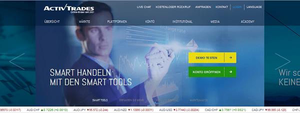Die ActivTrades Homepage