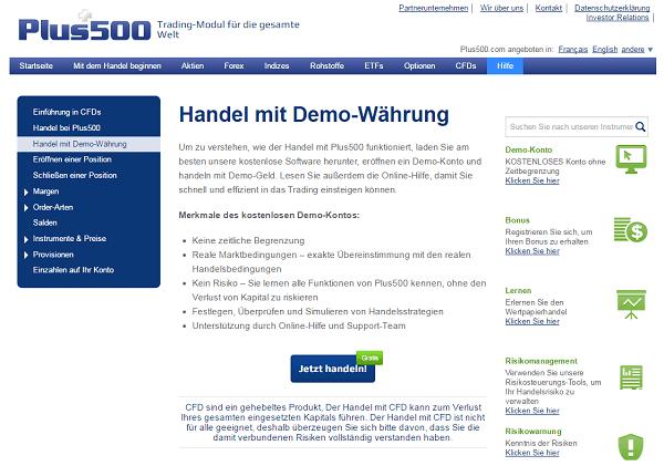 Das Demokonto von Plus500