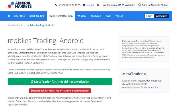 Admiral Markets mit Android App