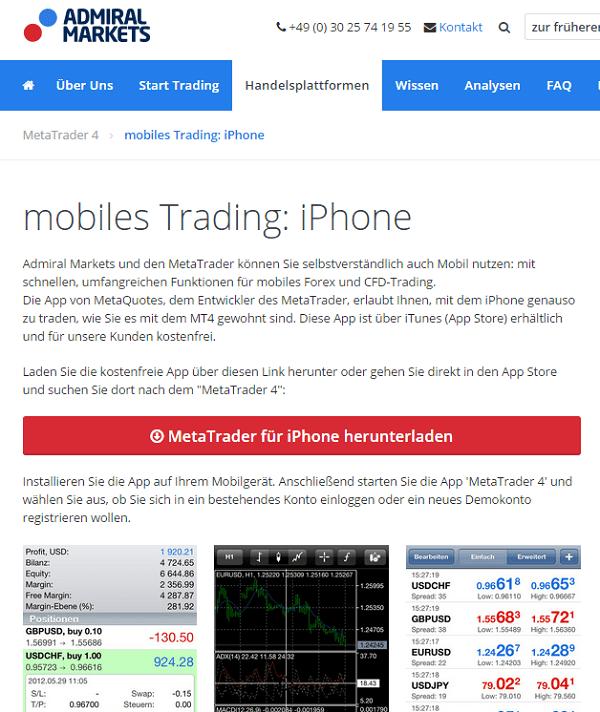 Admiral Markets App für iPhone