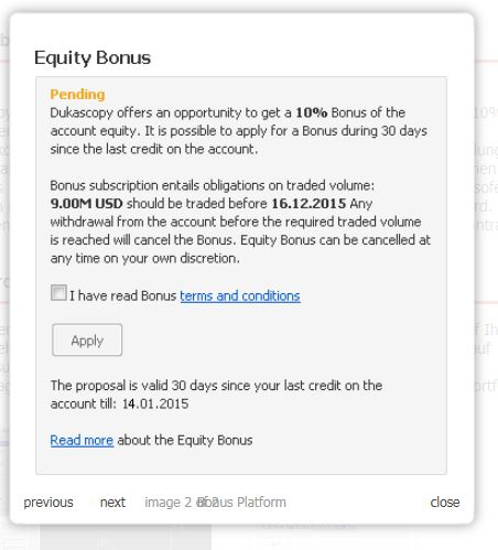 Formular von Dukascopy zur Beantragung des Bonuses