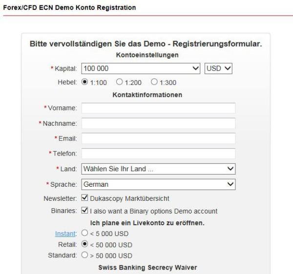 Anmeldeformular für CFD Demokonto