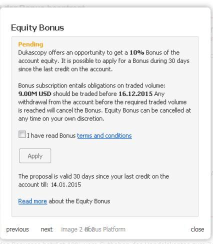 Anmeldefenster für den Equity Bonus von Dukascopy