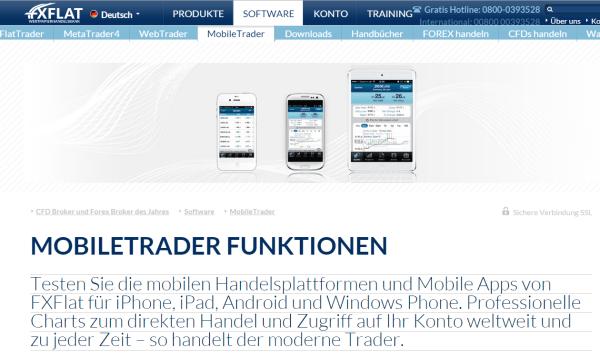 Auch unterwegs ist der Handel dank der FXFlat App möglich