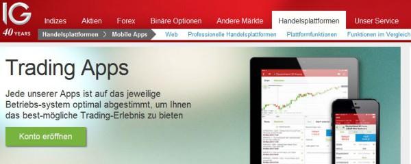 Angebot von IG für Trading Apps