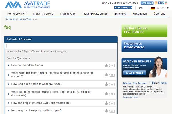 AvaTrade Einzahlung Auszahlung