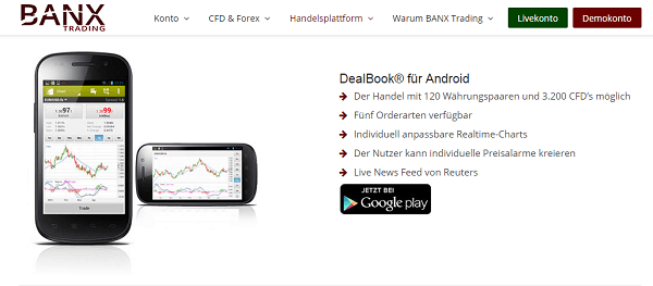 Die Trading Apps von Banxtrading.de für Android-Betriebssysteme