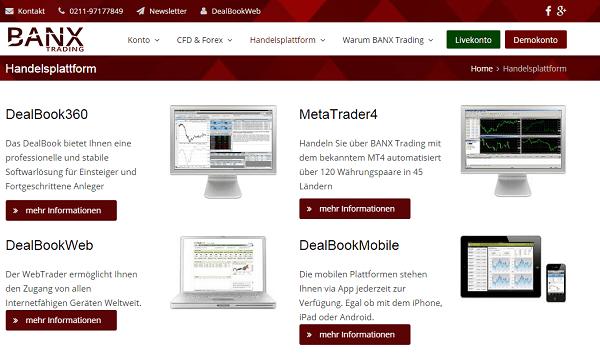 Die Plattformen bei Banxtrading.de