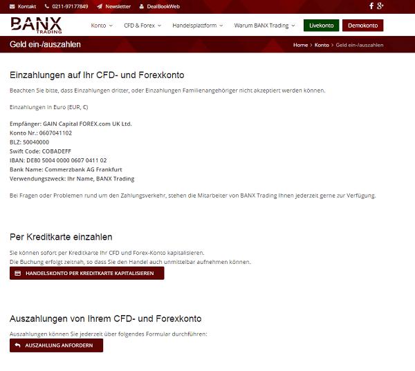 Die Einzahlungswege bei Banxtrading.de