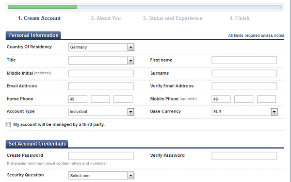 Online-Formular für die Kontoeröffnung