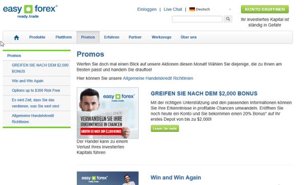 Übersicht Promotions auf easy-forex.de