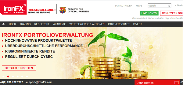 Die Homepage von IronFX