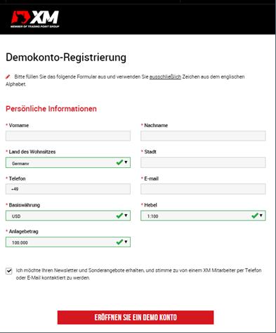 Das Anmeldeformular für ein Demokonto bei XM.com