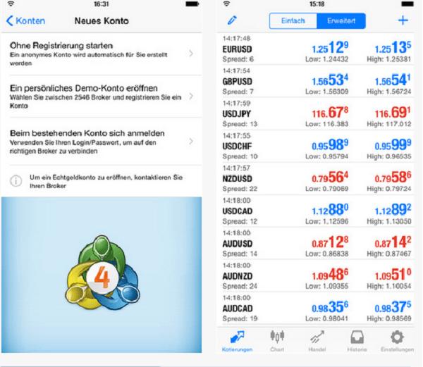 Die iPhone App von JFD Brokers