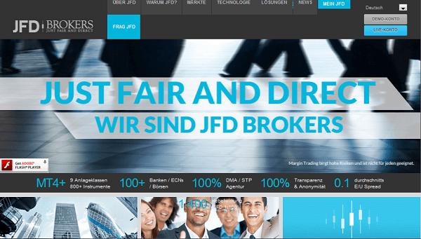 Der Web-Auftritt von JFD Brokers