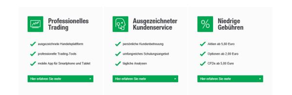 Übersicht der Kundenvorteile auf lynxbroker.de