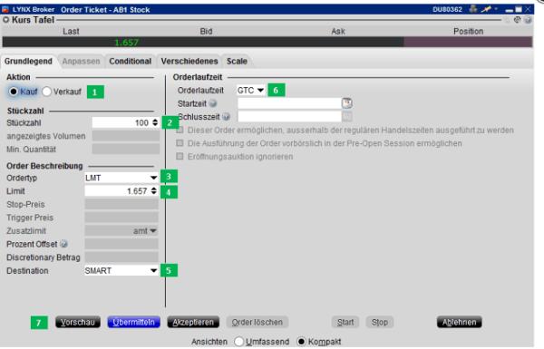 Anleitung Trader Workstation auf lynxbroker.de