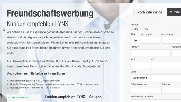 Freundschaftswerbung auf lynxbroker.de