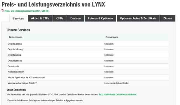 Preise und Konditionen auf lynxbroker.de
