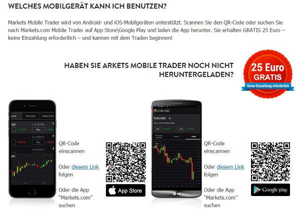 Markets.com App für Android und iOS
