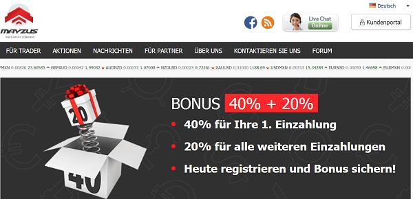 Das Bonusangebot von Mayzus mit Bonusangebot