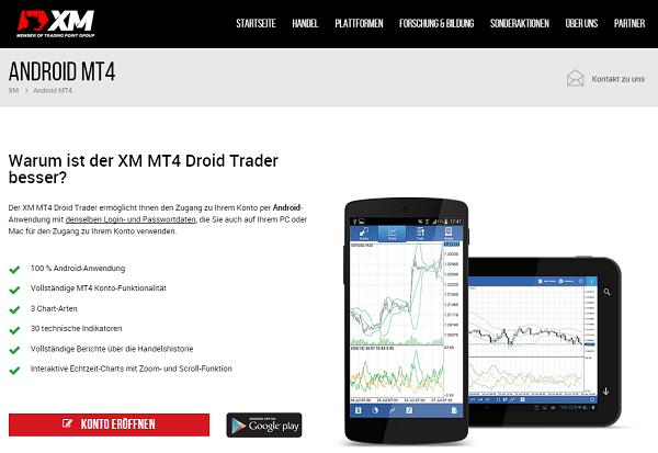 Der XM MT4 Droid Trader für das Android-Betriebssystem