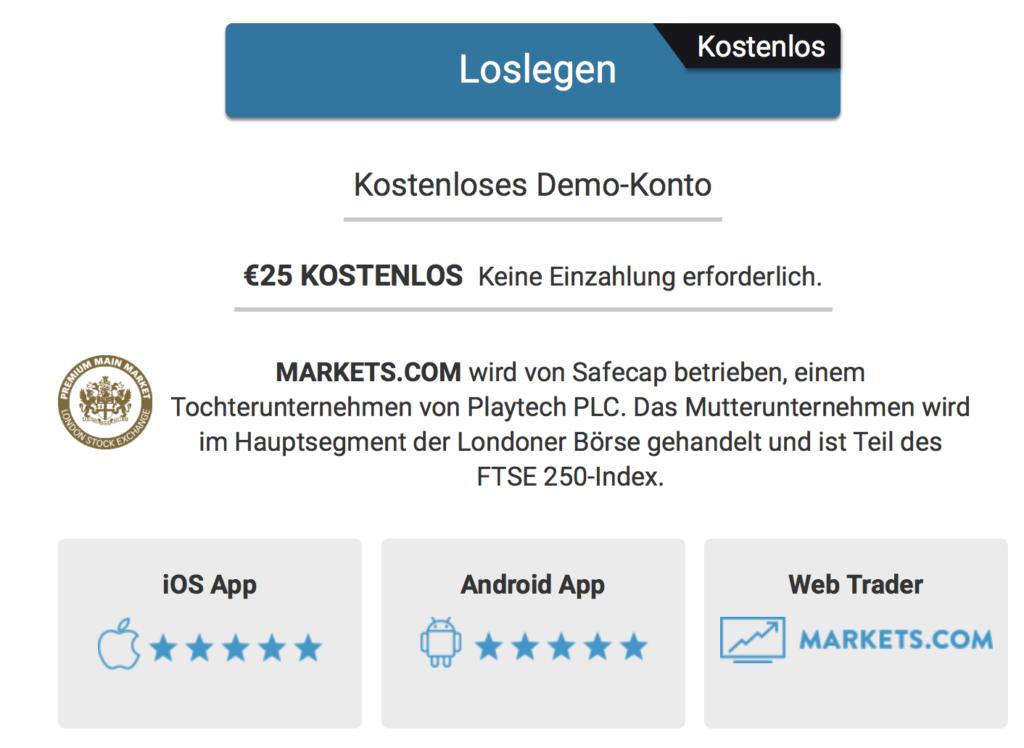 Ein kostenloses Demokonto ermöglicht es dem Trader, Markets.com zu testen
