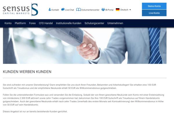 Das Bonusprogramm von Sensus Capital Markets