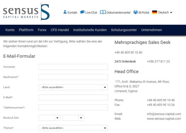 Die Kontaktseite bei Sensus Capital Markets