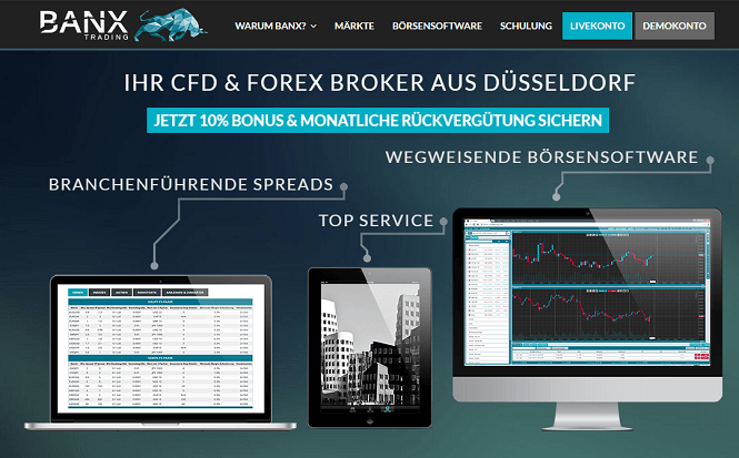 Banx Trading Webauftritt