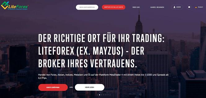 LiteForex (Mayzus) Webauftritt