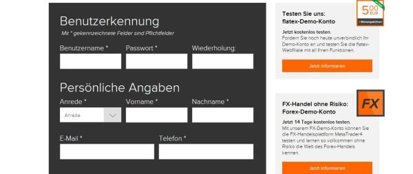Das Online Formular zur Flatex CFD Demokonteneröffnung