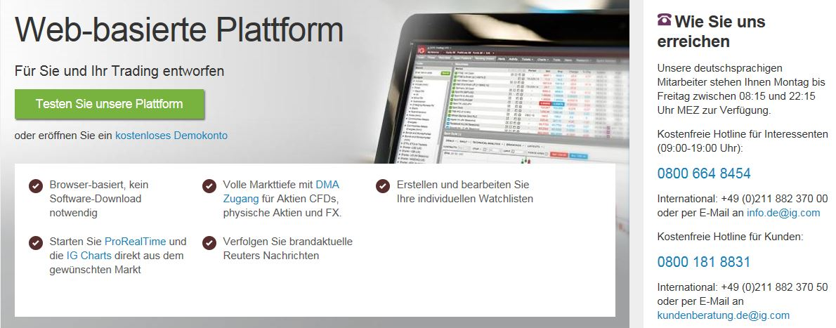 Überblick der webbasierten IG Handelsplattform