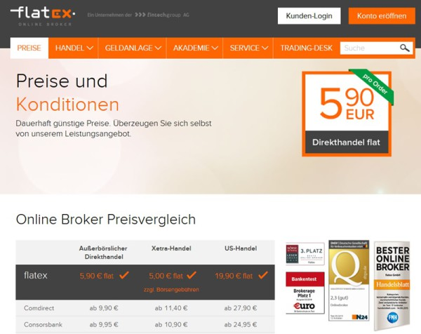 Screenshot flatex Konditionen Forex