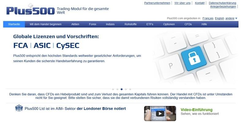 Screenshot Startseite Plus500