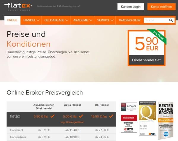 Screenshot Preisverzeichnis flatex