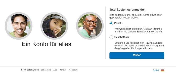 PayPal Kundenkonto Registrierung
