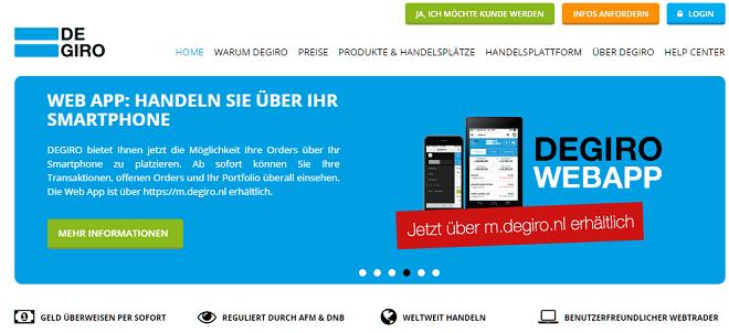 Web App zum Degiro Online Aktiendepot