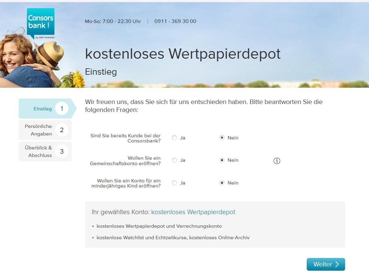 Screenshot Consorsbank Depot Eröffnungen Antrag