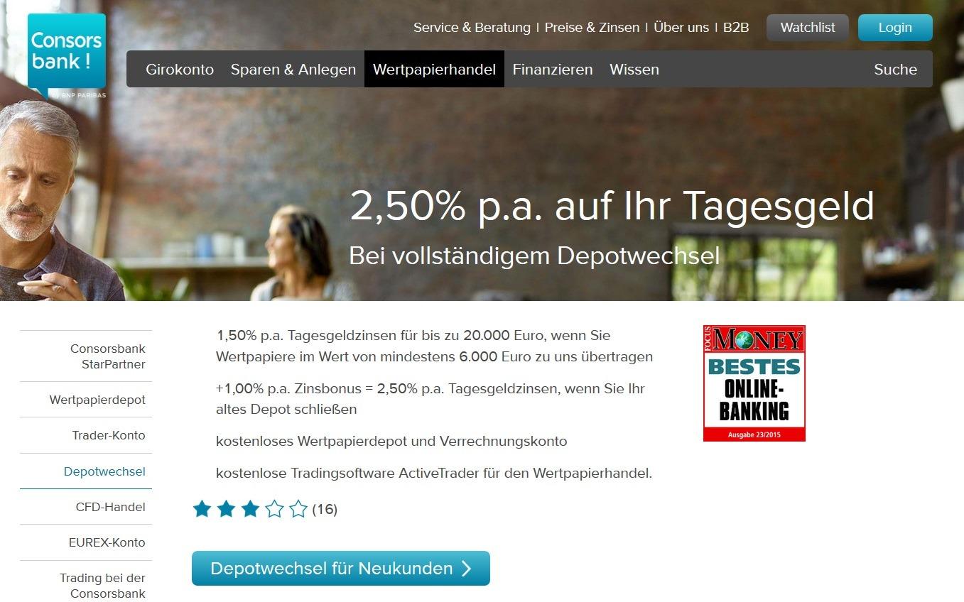 Screenshot Consorsbank Prämie Depotwechsel