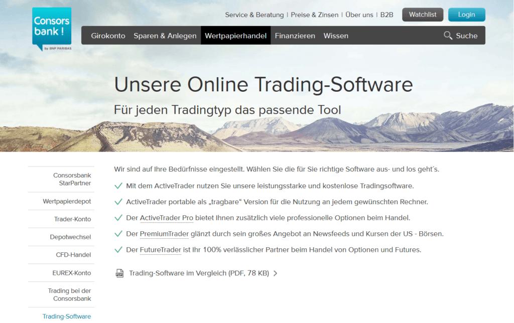 Die Trading Software der Consorsbank im Überblick