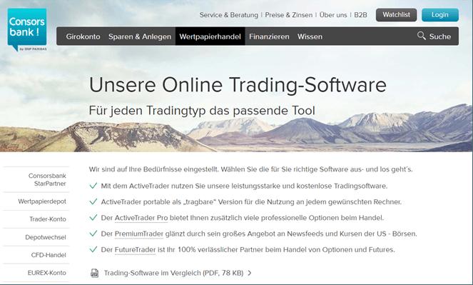 Consorsbank Handelssoftware