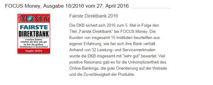 Eine der vielen Auszeichnungen der DKB Bank auf einen Blick